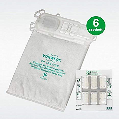 folletto 136 Sacchetti 12 Sacchetti Polvere Filtro sacchetto adatto per Vorwerk Folletto 135